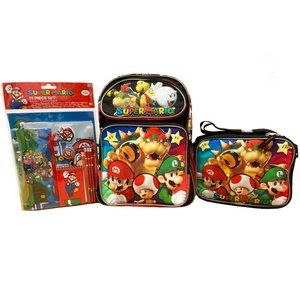 3pc Super Mario Backpack, Stationery & Lunch Bag
